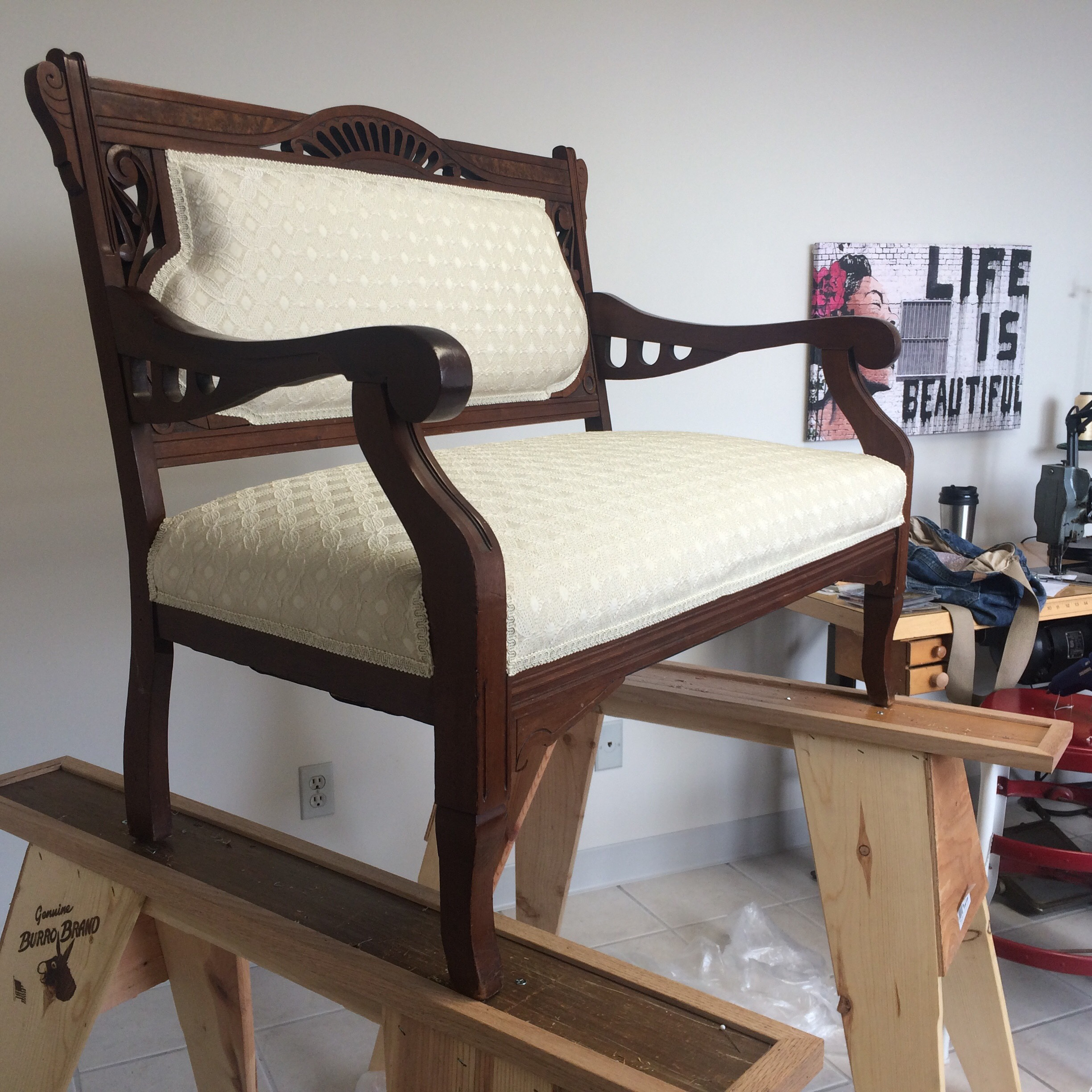 Small antique settee